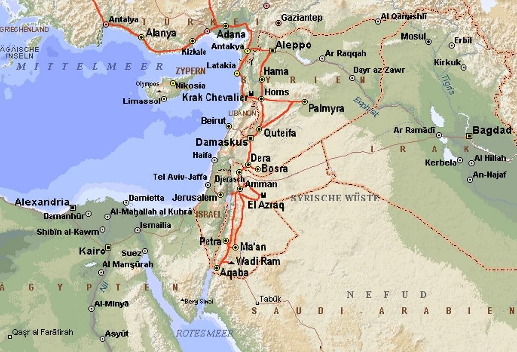 Jordanien Karte.Syrien Jordanien 1980 Teil 2
